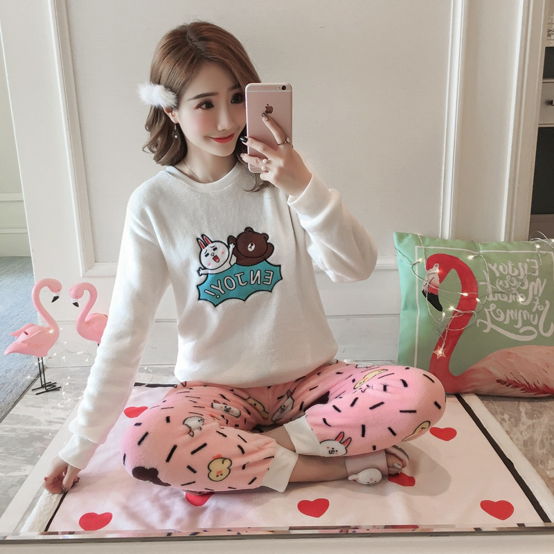 Coral Velvet Winter Women Pajama Sets Female Flannel Round Neck Cute Cartoon Camel White Letter Home Service Winter Warm Suit