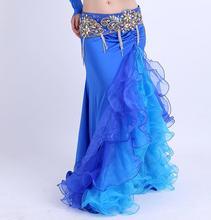 Kadınlar renkli yan yarık etek elbise Bellydance performans cadılar bayramı dans kostüm mavi pembe beyaz çift renk ücretsiz kargo