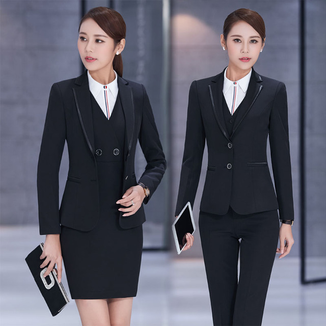Long Sleeve Business Suits Beauty Salon Ladies Office Dress Outfits Plus  Size Elegant Black Pantsuits Skirt Suits Formal Styles 6a00a8fe3b5c