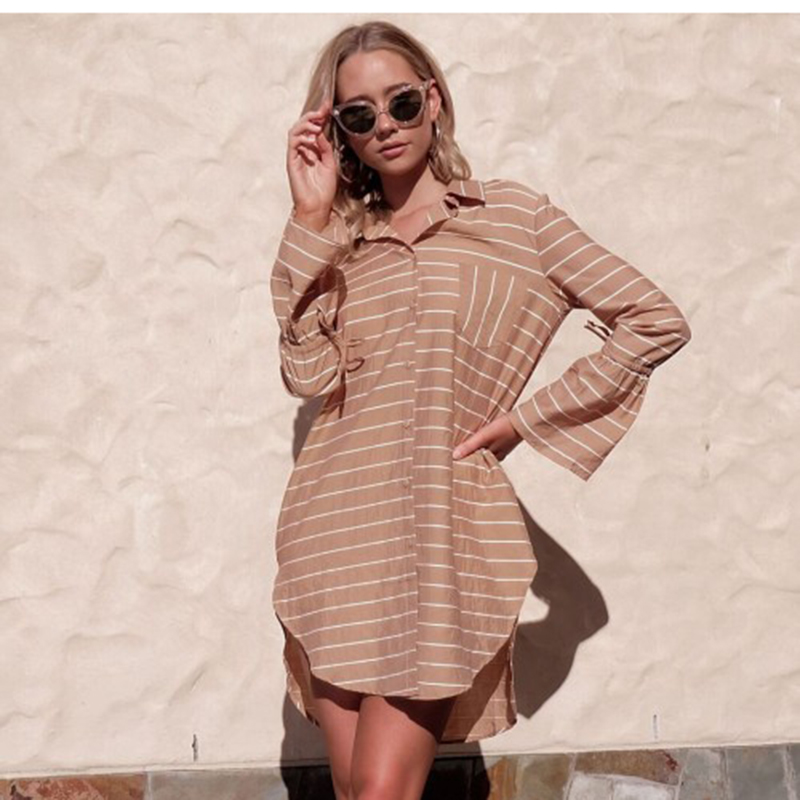 New Casual Flare Sleeve Blouse Women Casual Striped Ladies Blusas Long Sleeve Cardigan Streetwear Blouse And Top Women Shirt