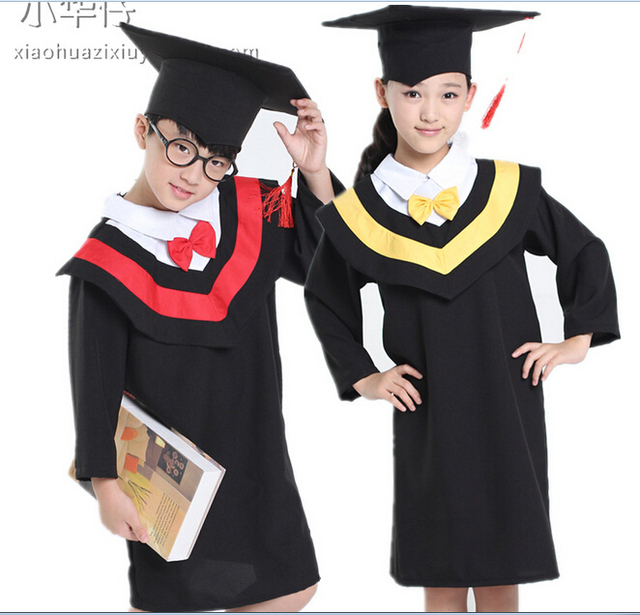Kids Academic Dress Girl Boy Graduation Gown Stage Show Costume ...