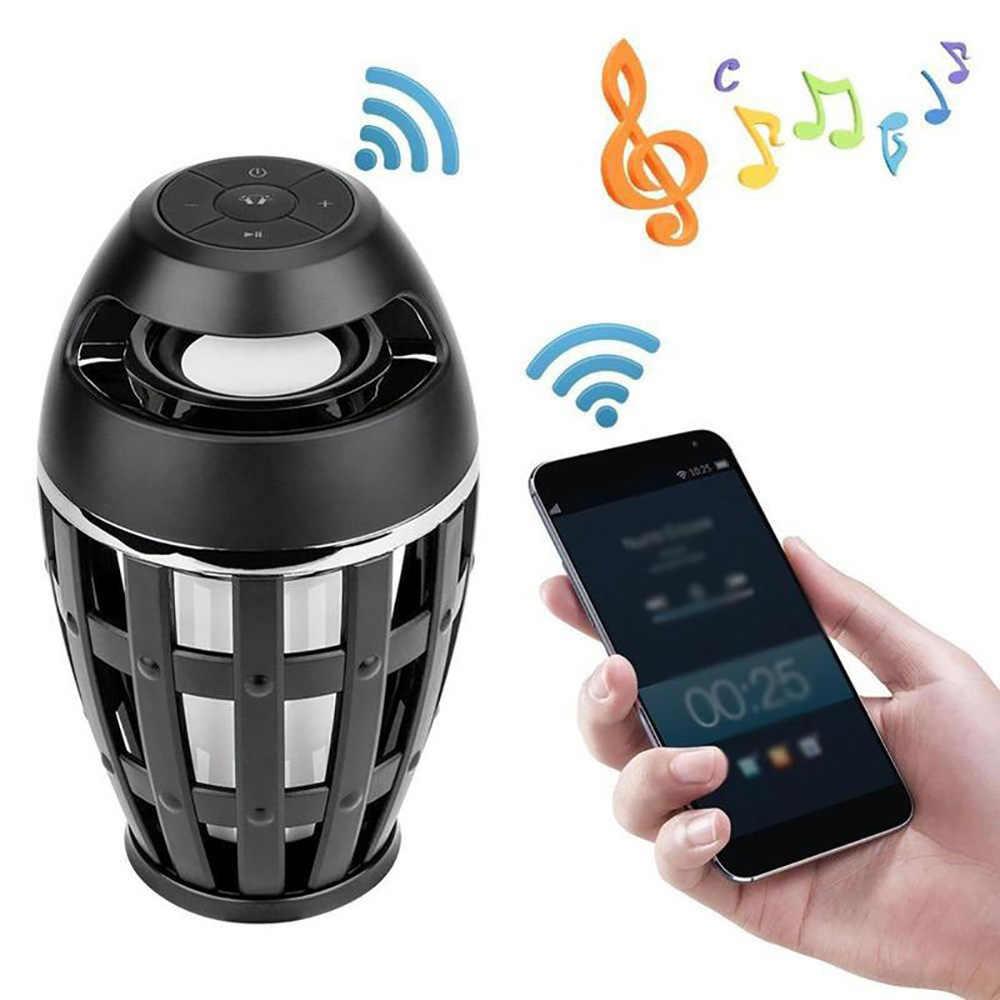 Altavoz Bluetooth USB Led llama luces al aire libre portátil Led llama atmósfera lámpara estéreo altavoz al aire libre Camping Woofer Mini