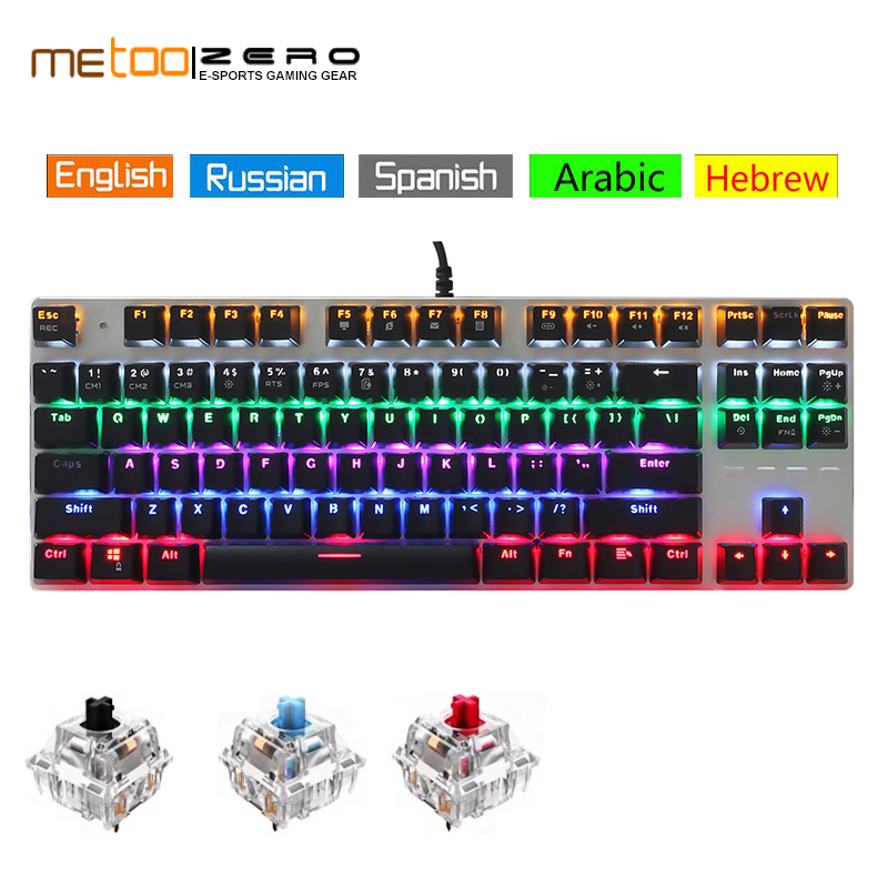 Metoo ZERO Gaming Keyboard Wired Mechanical Keyboard Blue/Black/Red Switch LED Backlit 87 104 Keys Arabic Russian Spanish Hebrew