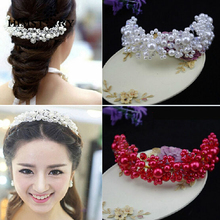 Free Shipping Elegance Soft Crystal Pearl Beads Bridal Hair Accessoreis Wedding Jewelry Accessories Party Decoration
