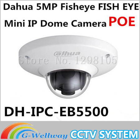 Dahua IPC-EB5500 5MP Full HD WDR Panorama 185 Degree built-in MIC with SD card slot POE Network Fisheye Dome IP Camera dahua 4k ipc hfw4830e s ultra hd 8mp built in sd card slot h2 65 ip67 ir 40m poe mini bullet network ip camera