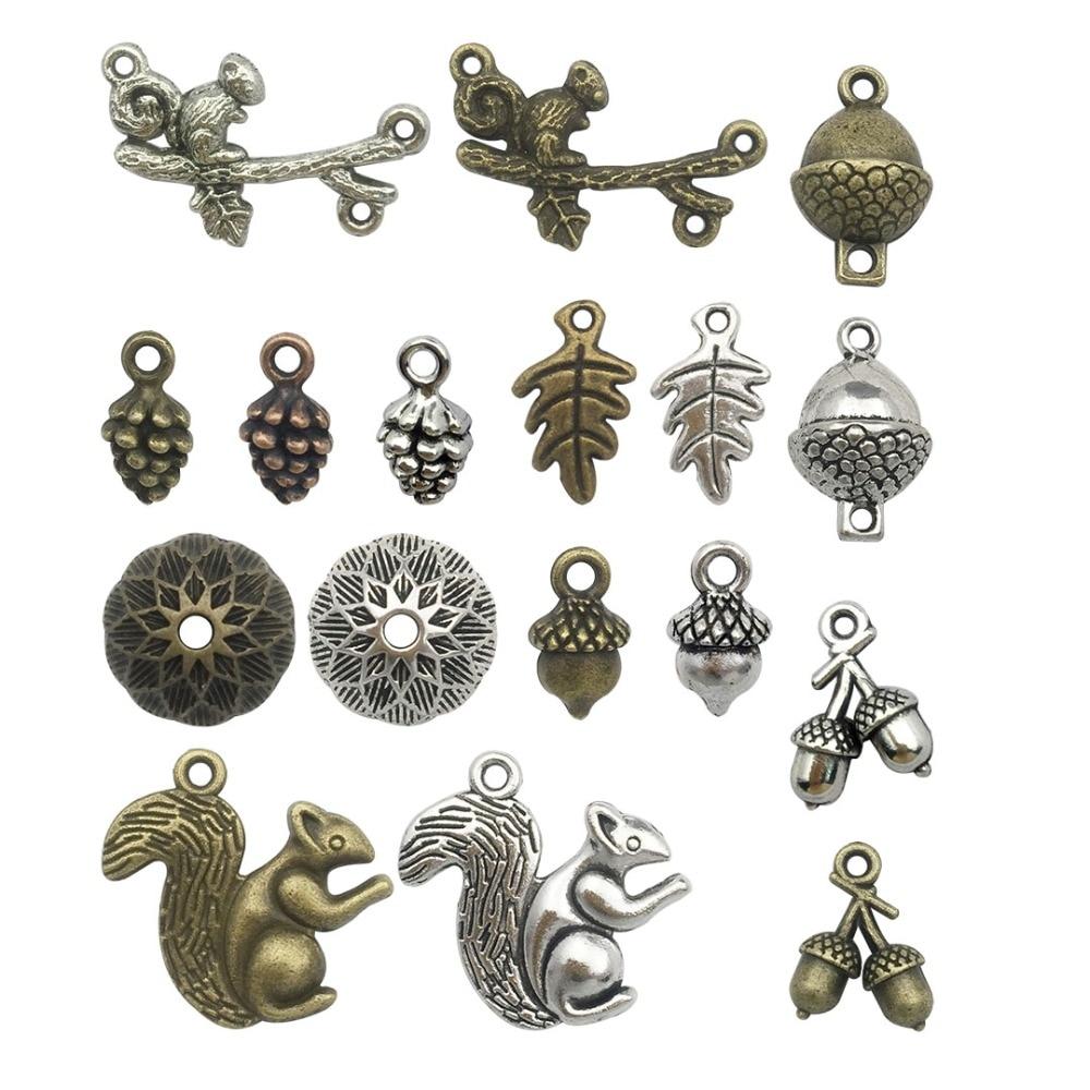 20 Pcs Vintage Argent en Alliage de Zinc Champignon Charms Collier Pendentif Craft Findings