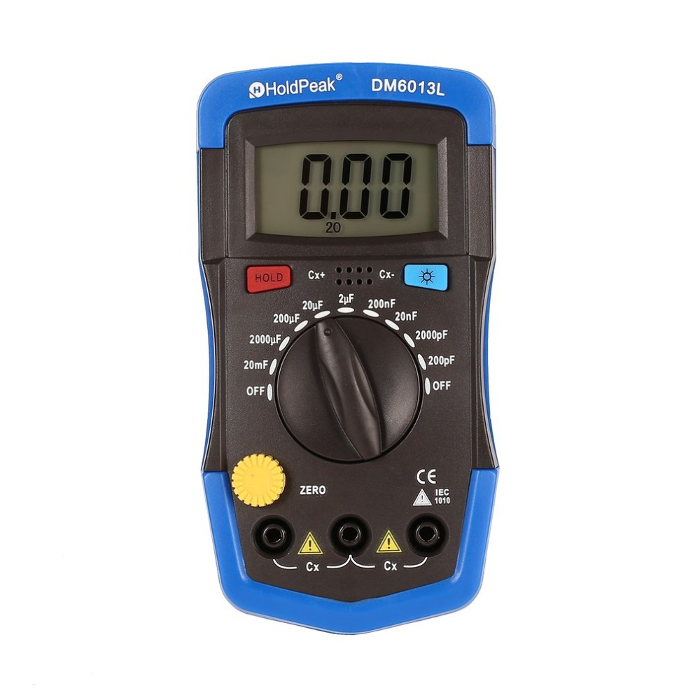 Dm6013l portátil handheld digital capacitor medidor de capacitância 1999 contagens testador 200pf 2020mf data hold backlight