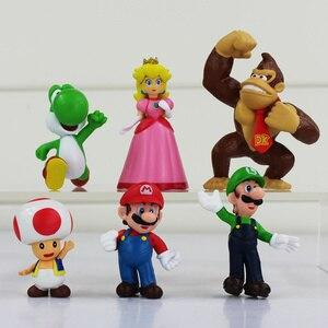6Pcs/Lot Anime Super Mario Bros Luigi Donkey Kong Action Figures Toad Peach Princess Youshi Mario Christmas Gift New in Opp Bag