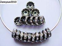 200 sztuk/partia 4mm Top Quality Czeskie Jasny Kryształ Rhinestone Pave Rondelle Metalowe Brązu Plated Spacer Luźne Koraliki Biżuteria Making