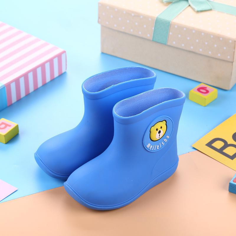 Children Rain Boots Rubber Rainboot Kids Baby Girls Waterproof Boot Pvc Warm Boys Water Shoes Cartoon Four Seasons Removable