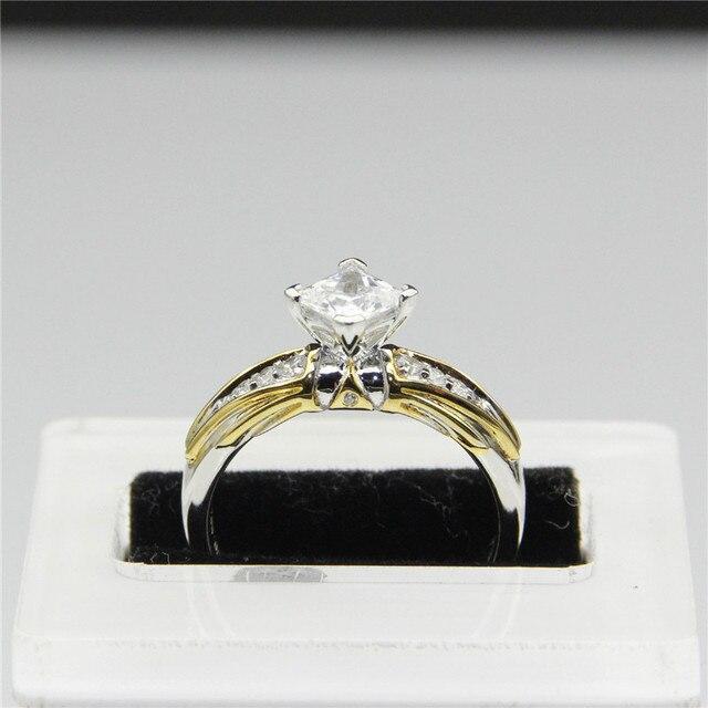 9k White Gold Princess Cut 1ct Esdomera Moissanites Ring Legend of Zelda Lab Grown Diamond Plate Two Tone Engagement Ring