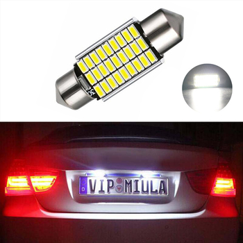 BOAOSI 1x 36mm Pure White CANbus C5W Bulbs For Samsung 3014 SMD License Plate Light For BMW E39 E36 E46 E90 E60 E30 E53 E70 image