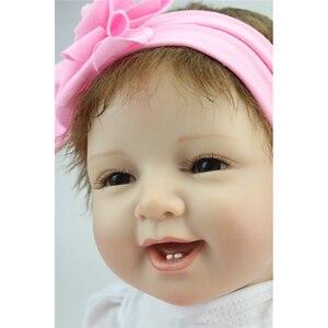 Image 3 - 55cm Reborn bebek bebekler vinil silikon gerçekçi canlı yumuşak bebekler Toddler yenidoğan oyuncak çocuklar erkek kız doğum günü noel hediyesi