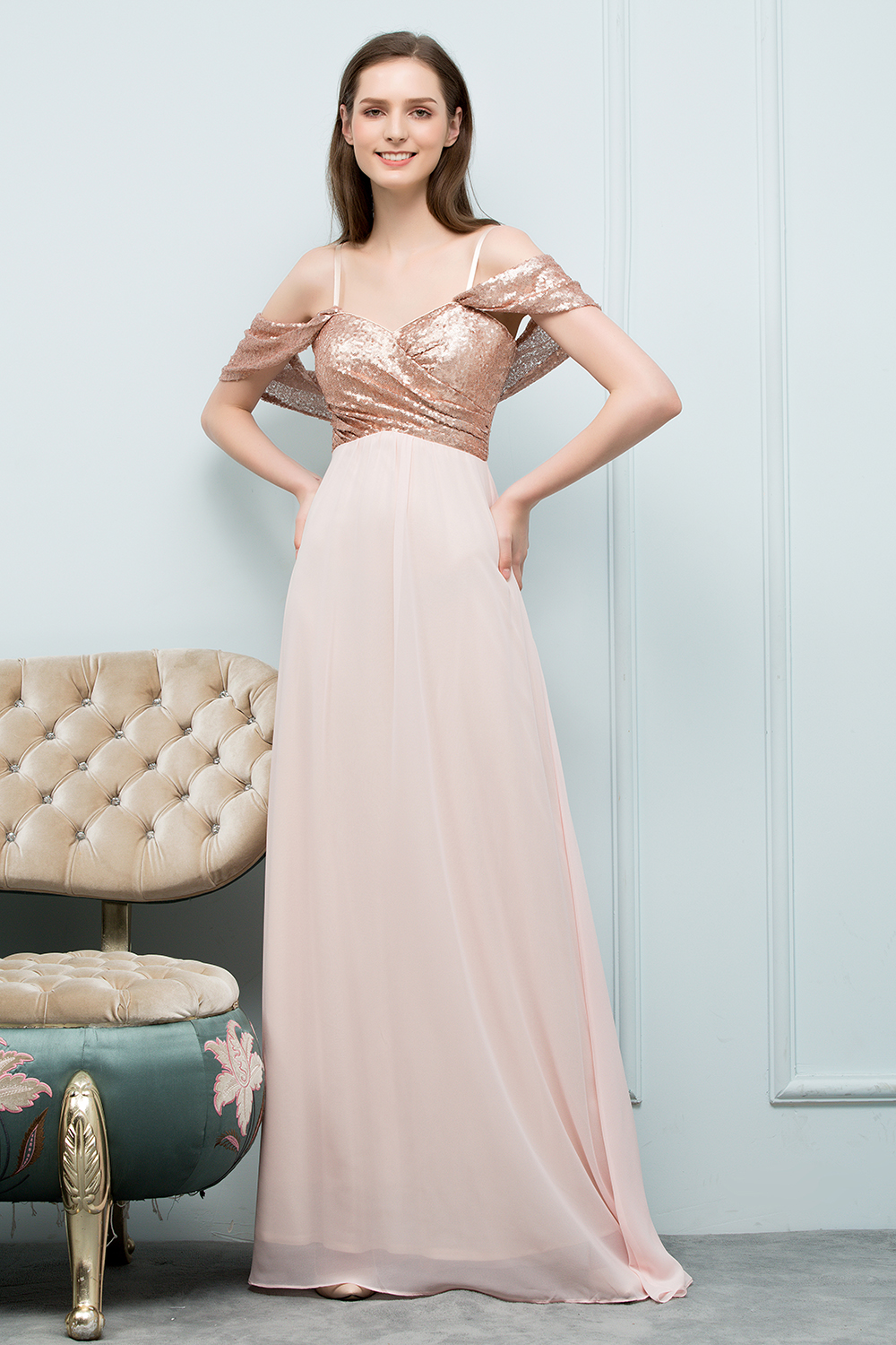 2018 sexy rose gold sequin chiffon bridesmaid dresses off shoulder 2018 sexy rose gold sequin chiffon bridesmaid dresses off shoulder long wedding party dresses robe demoiselle dhonneur in bridesmaid dresses from weddings ombrellifo Images