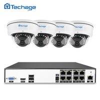 Techage H 265 8CH 48V POE NVR DVR HD CCTV System 4MP Indoor Dome POE IP