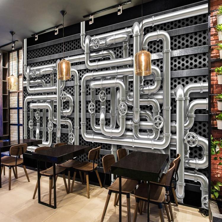 3D photo wallpaper Restaurant 3D industrial pipe heavy metal bar KTV  bedroom living room clothing store retro wallpaper mural