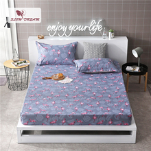 Slowdream 1PCS Nordic Flamingos Bed Sheet On Elastic Band Rubber Sheet Bed Linen Double Corners Sheet Adult Mattress Cover цена 2017