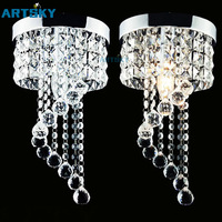 Modern Luxury Circular Transparent Crystal 220V Lamp LED Ceiling Light for Corridor/ Entrance E14 Bulb Included