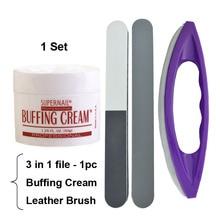 1set Professional Nail Art Polishing Wax Buffing Cream 50g+Leather Buffer Brush+Foam File Manicure Tools Pink Wax Coat Luster