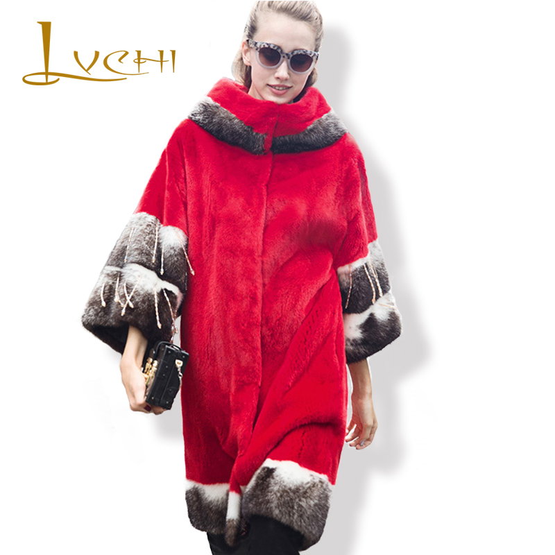 LVCHI 2019 Boho Real Mink Coat Women Red Fashion Široký pas Evropská hvězda Speciální rukáv Nové přírodní plné Mink Fur Coat