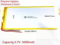 Free Shipping 3 7V 6000mAH Polymer Lithium Ion Battery Li Ion Battery For Tablet Pc 7