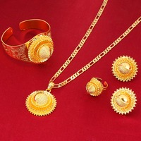 Big Size Gold Flowers 22K Gold Plated African Nigeria Sudan Kenya Habesha Wedding Jewelry Set