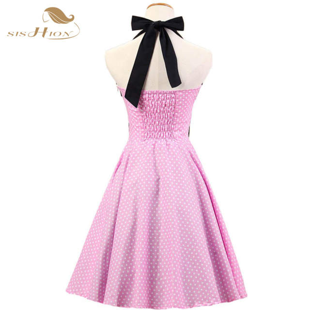 576fa794bb SISHION Retro Vintage Dress 50s Rockabilly Swing Halter Sleeveles Pink  White Polka Dots Elegant Sexy Backless