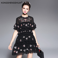 2017 Plus Size S 5XL Women Clothing Black White Cascading Ruffle Dress Flower Embroidery Loose Casual