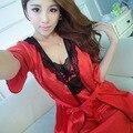 Искусственный шелк 2 Шт. Наборы Халат для женщин Пижамы Атласа пижамы Для Женщин Пижамы Femme Сексуальная Ночная Рубашка Халат Набор Кимоно пижамы