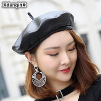 XdanqinX Women's Cap Genuine Leather Trendy Fashion Berets For Women New Sheepskin British Leisure Jazz Hats Brand Feminine Hat