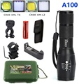 A100 Hunting Set Tactical flashlight cree XML T6 XM-L2 Zoomable torch led Waterproof flash light for 18650 Rechargeable battery