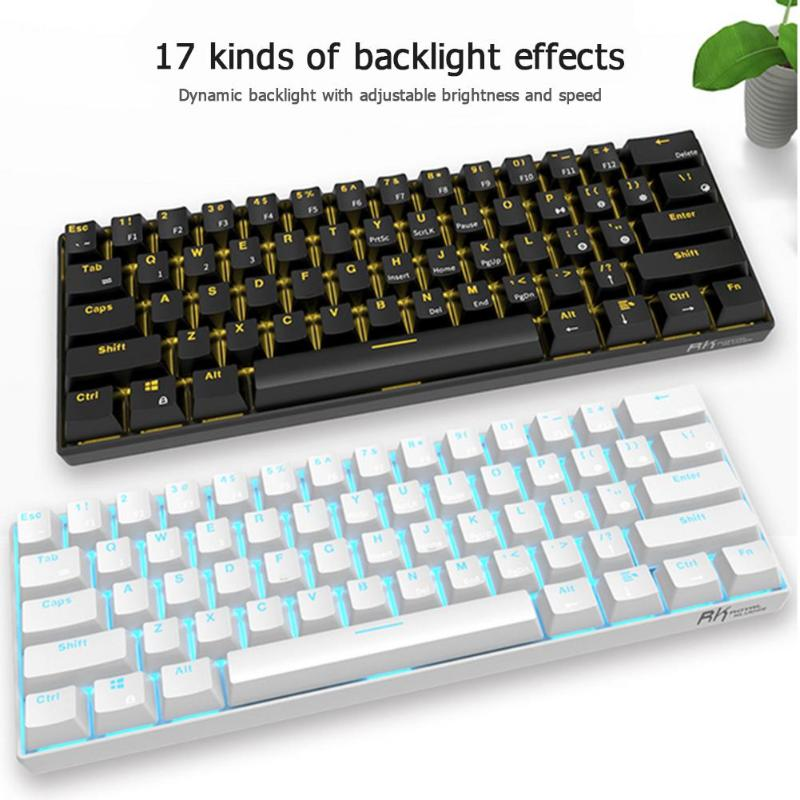 RK61 Wireless Bluetooth Mechanical Gaming Keyboards Slim 61 Keys RGB Single LED Backlit Backlight for Android/Windows/iOS|Keyboards| |  - title=