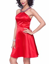 Einfache Haupt Recht Rot Homecoming Cocktailkleider Perlen Satin Kurzes Partei-kleid. Klasse Graduation Vestido De Festa Curto