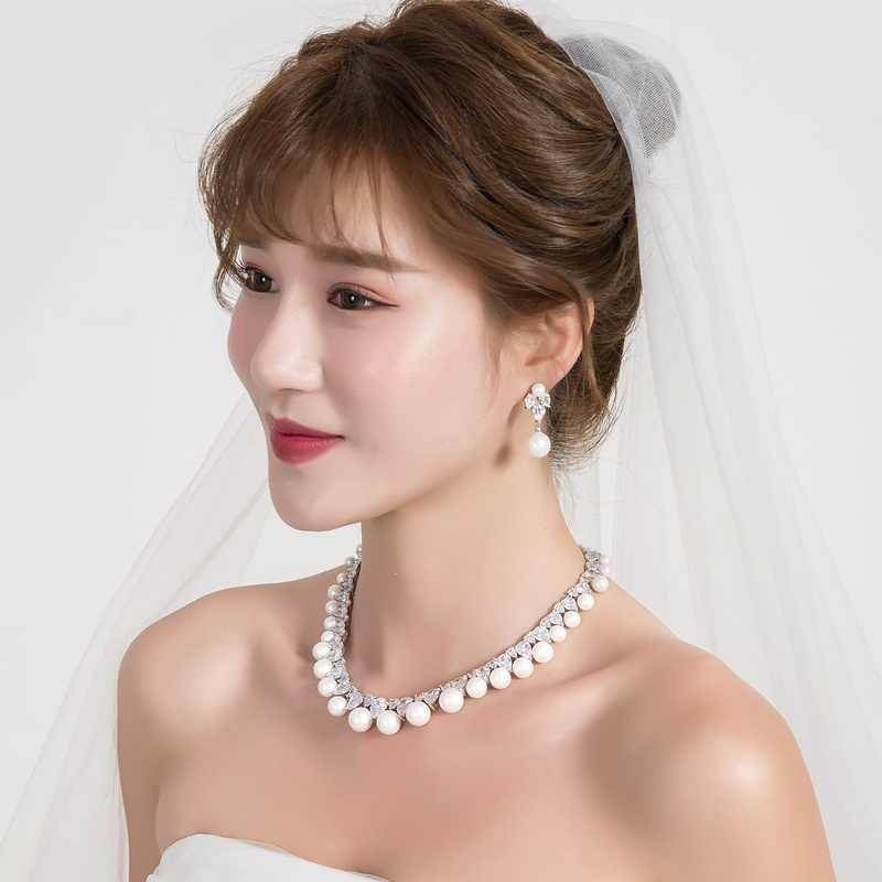 WEIMANJINGDIAN Cubic Zirconia and Shell Pearl Necklace & Earring Jewelry Set for Wedding or Mother's Day Jewelry Gifts
