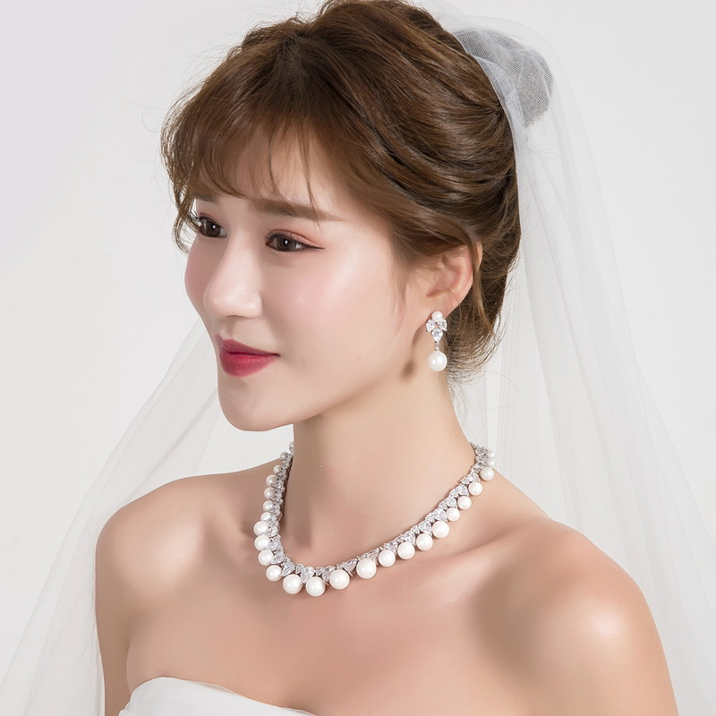 WEIMANJINGDIAN Cubic Zirconia and Shell Pearl Necklace & Earring Jewelry Set for Wedding or Mothers Day Jewelry GiftsWEIMANJINGDIAN Cubic Zirconia and Shell Pearl Necklace & Earring Jewelry Set for Wedding or Mothers Day Jewelry Gifts