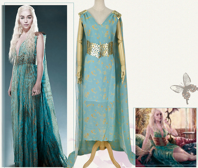 Game of Thrones A Song of Ice and Fire Daenerys Targaryen Cosplay Costume Mother of Dragons Blue Long Train Dress