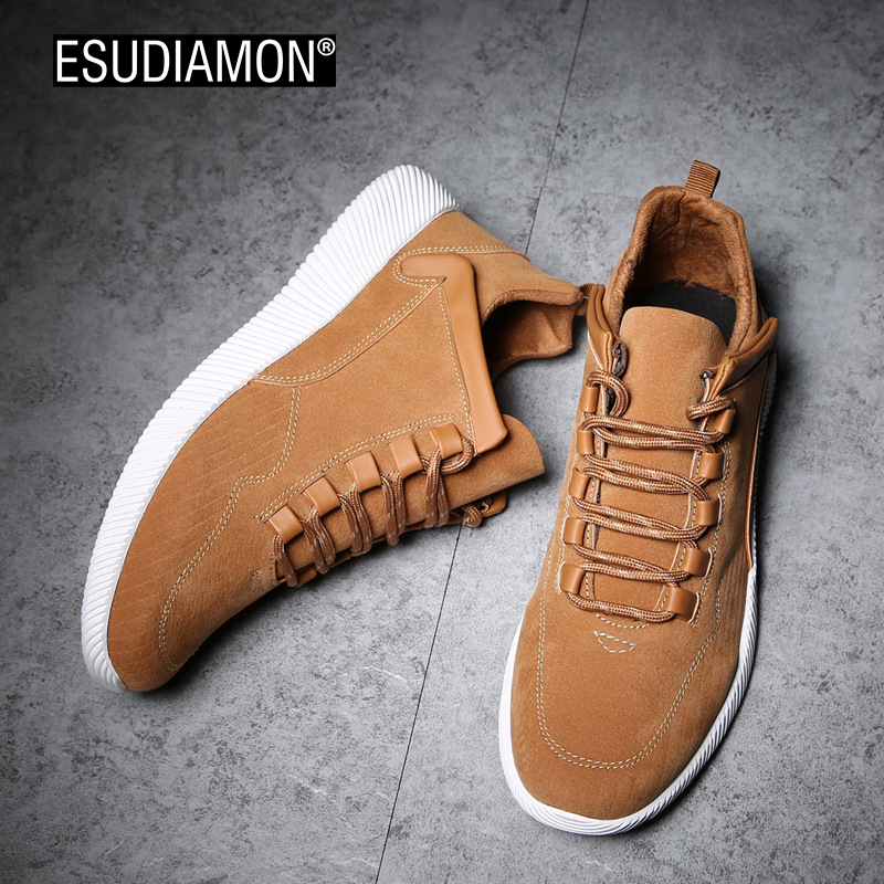 ESUDIAMON  Hot Man New Fashion Brand Shoes  Men Leather Flats Men's Flats Comfortable Soft Spring Student Youth Casual Shoes cbjsho brand men shoes 2017 new genuine leather moccasins comfortable men loafers luxury men s flats men casual shoes
