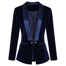 2019 autumn and winter new women's satin green fruit collar slim velvet blazer(China)