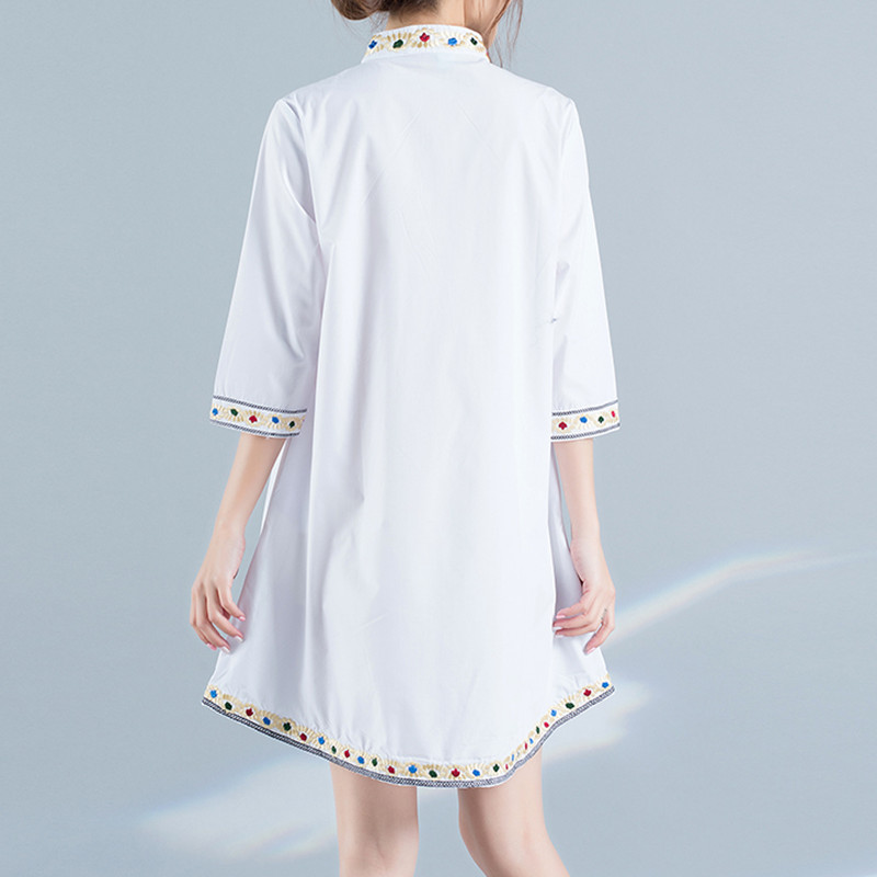 Babydoll Women Tops And Blouses Summer Peplum Tops Cute Half Sleeve Stand Collar Long Shirts Embroidery Blouses Cotton Blouses