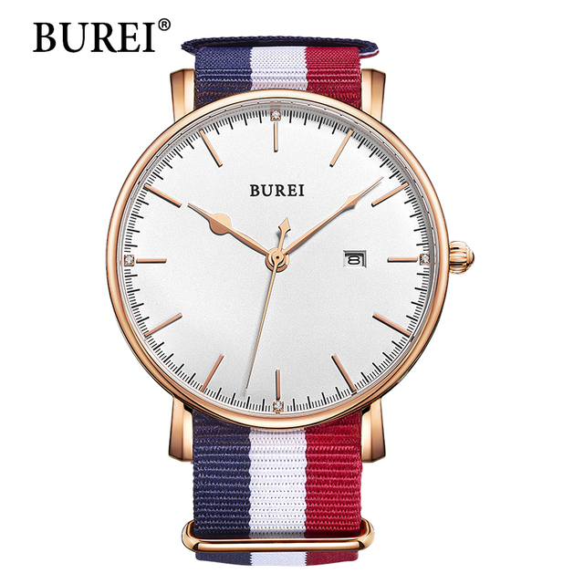 2016 real burei hombres reloj superior de la marca de acero inoxidable a prueba de agua fecha de relojes de pulsera de cuarzo azul y rojo tela de nylon correa relojes