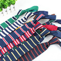 Men Stripe Thin 6cm Crochet Woven Necktie Slim Skinny Knitted Flat Tie TSBWT0040