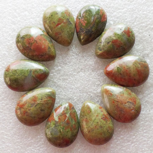 (10 pieces/lot) Wholesale Natural Unakite Gem Teardrop CAB Cabochon 25x18x7mm Free Shipping Fashion Jewelry S-66