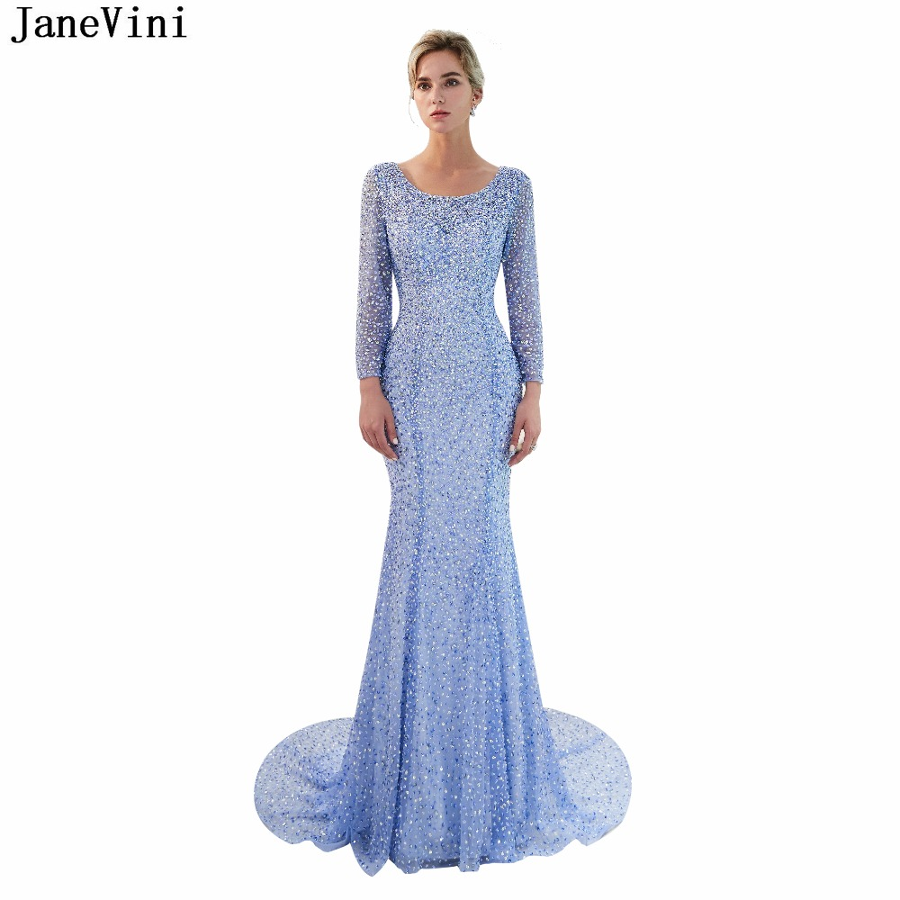 JaneVini Charming Mermaid Bridesmaid Dresses Luxury Sequins Beaded Long Sleeve Scoop Neck Backless Saudi Arabic Tulle Prom Gowns