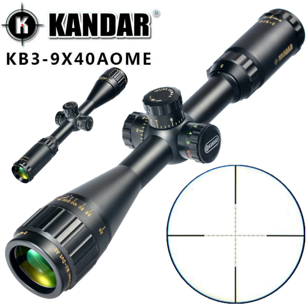 KANDAR Gold Edition 3-9x40 AOME Glass Etched Mil-dot Reticle Locking RifleScope Hunting Rifle Scope Tactical Optical Sight tactial qd release rifle scope 3 9x32 1maol mil dot hunting riflescope with sun shade tactical optical sight tube equipment