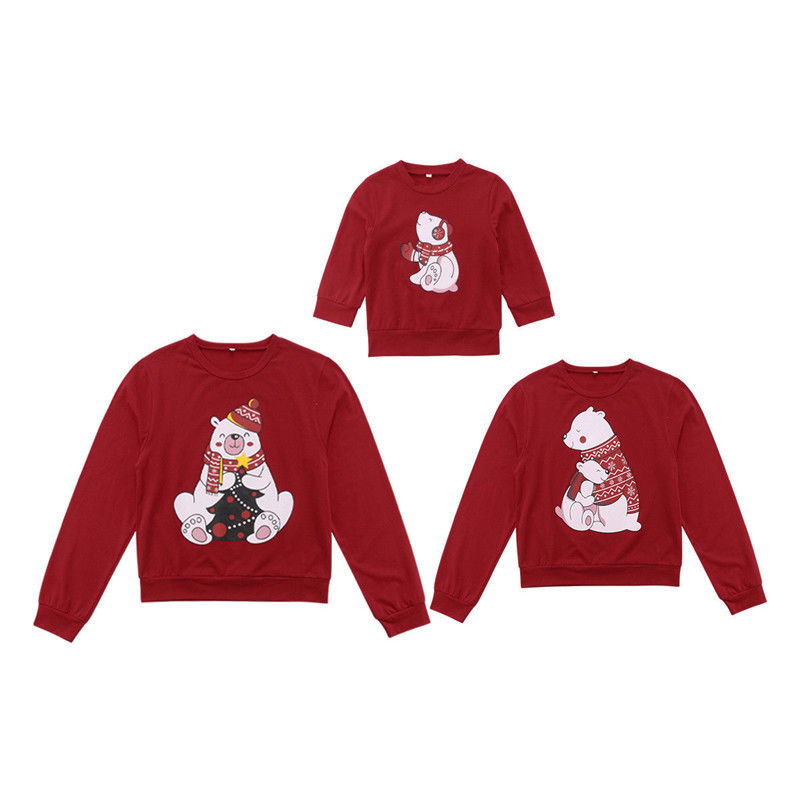 Family Matching Christmas Bear T Shirt Christmas Sweater Sweatshirt Pullover Tops Long Sleeve Winter Fall Clothes