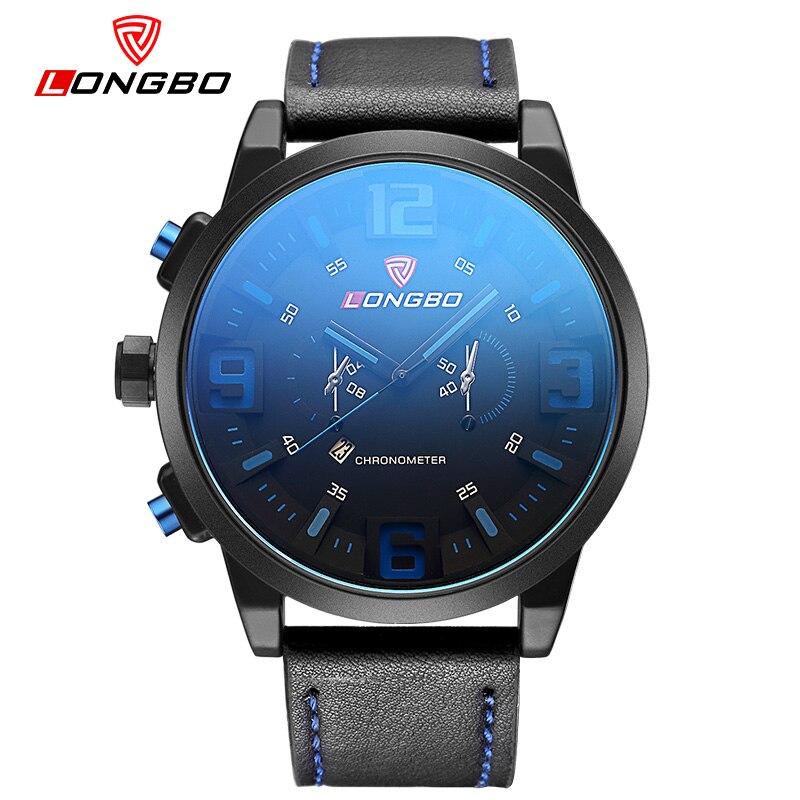 LONGBO Brand New Fashion Watch Men Leather Strap Blue Mirror Calendar Casual Quartz Wristwatch Men Simple