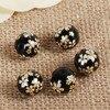 DoreenBeads Glass Painting Vintage Japanese Tensha Beads Round Sakura Flower Pattern Imitation Pearl About 12mm( 4/8