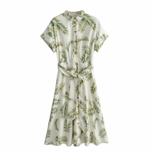 Sexy Midi Shirt 2019 summer Dresses Womens button leaves Print casual short Sleeve Vintage Bandage Female Chic