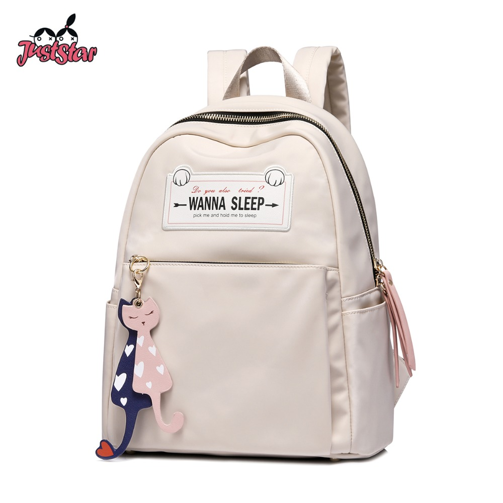 Just Star Women's Nylon Backpack Ladies Fashion Double Shoulder Bags Female Cartoon Cat Tassel Student School Travel Rucksack
