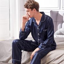 Xifenni Faux Silk Pajamas Male 2019 Autumn New Silky Ice Sleepwear Man Long-Sleeve Fashion Striped Pajama Sets 9004